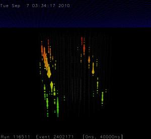 Dos eventos con trayectorias paralelas en la configuración de 79 cuerdas.