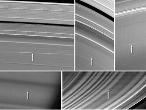 Cinco imágenes de los anillos de Saturno tomadas por la nave Cassini de la NASA entre 2009 y 2012. Muestra nubes de material eyectado producto de impactos dentro de los anillos.