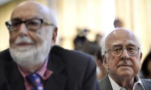 François Englert, a la izquierda, y Peter Higgs. Photograph: Martial Trezzini/AP