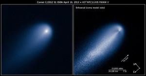 Cometa ISON, fotografiado por el Hubble Space Telescope, el 10 de abril de 2013 cerca de la órbita de Júpiter. A la derecha, versión mejorada.