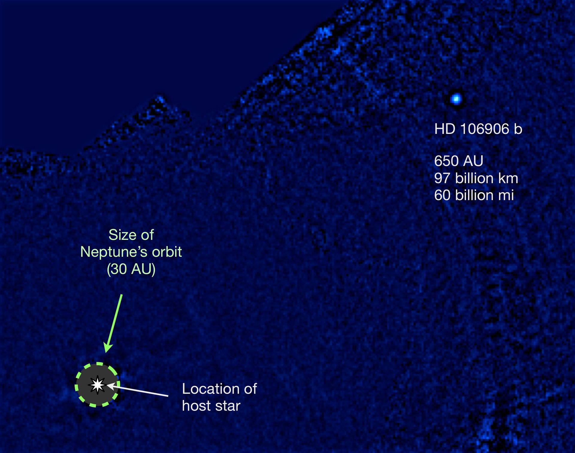 Imagen del planeta HD 106906 b en el infrarrojo térmico usando el MagAO/Clio2, procesada para remover la luz de la estrella. La UA (Unidad Astronómica) corresponde a la distancia entre la Tierra y el Sol.