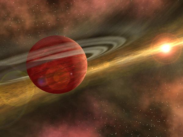 Imagen artística de un planeta joven en una órbita distante en torno a su estrella, la cual aún  conserva un disco de escombros, remanente de su formación. (NASA)