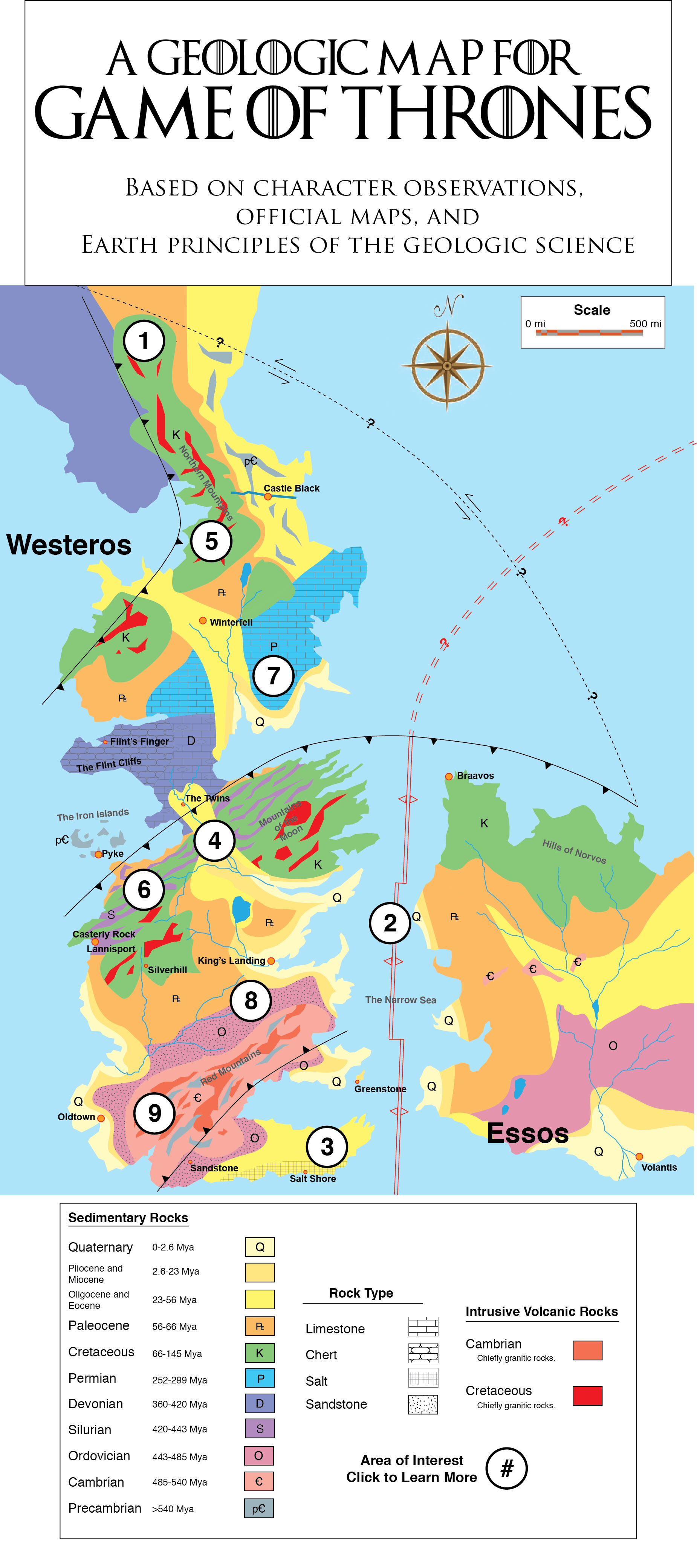 Mapa geológico de Game of Thrones. Créditos: Generation Anthropocene.