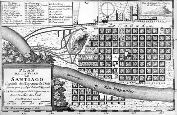 Mapa de Santiago elaborado por Frézier.