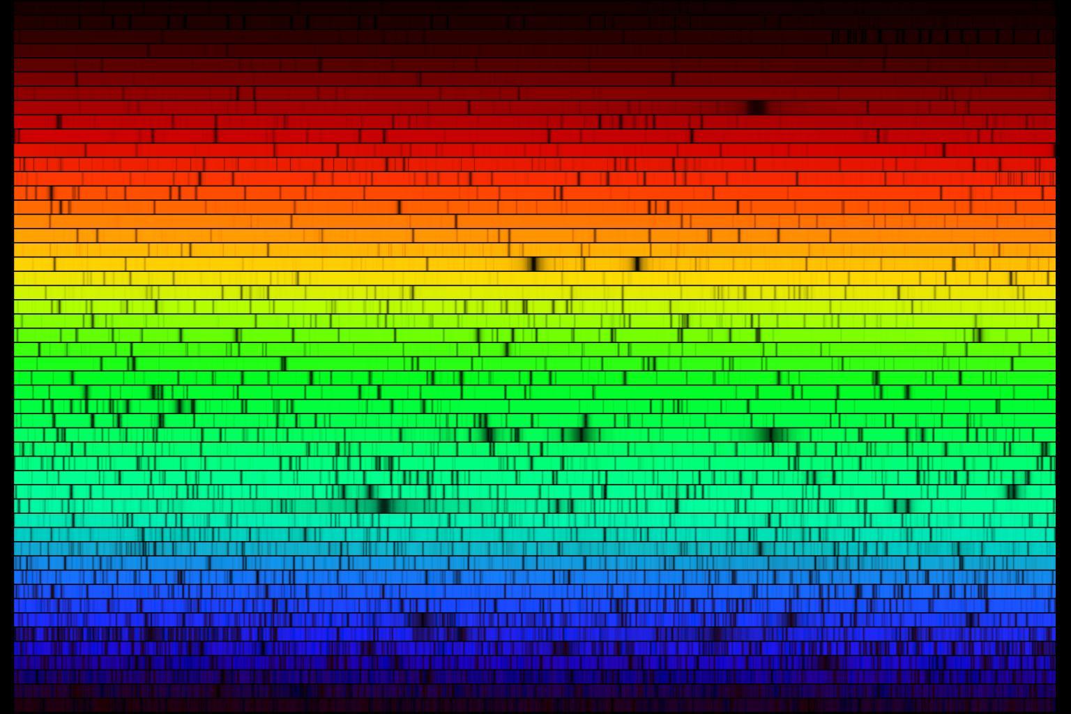 Espectro solar de alta resolución (crédito: N.A. Sharp, NOAO/NSO/Kitt Peak FTS/AURA/NSF)