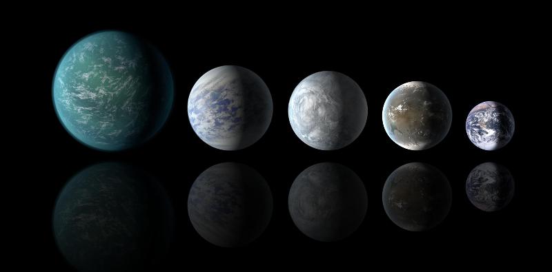Impresión artística de una variedad de Súper-Tierras. Créditos: NASA Ames/JPL-Caltech