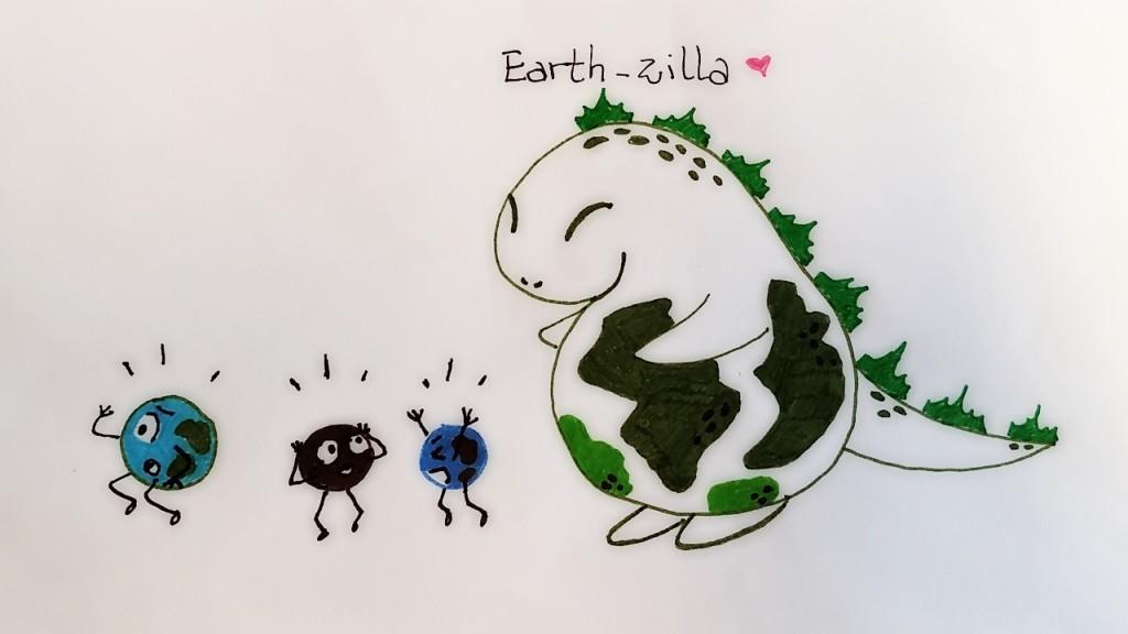 Earth-zilla, descripción gráfica. Créditos: Javiera Rey