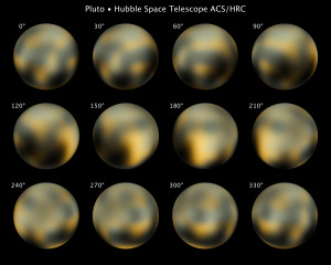 Imágenes de Plutón por el Telescopio Espacial Hubble. Créditos: NASA.