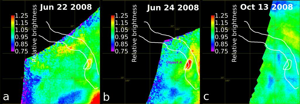 Cambios de brillo en Ganiki Chasma. Créditos E. Shalygin et al (2015).