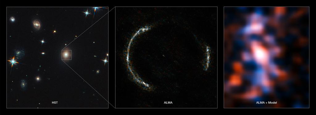 A la izquierda: Imagen del telescopio espacial Hubble. En el centro: Imagen del anillo de Einstein observado utilizando ALMA. A la derecha: modelo de la galaxia de fondo realizado por ALMA.