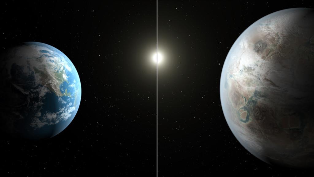 Comparación entre Kepler-452b y la Tierra. Créditos Kepler/NASA