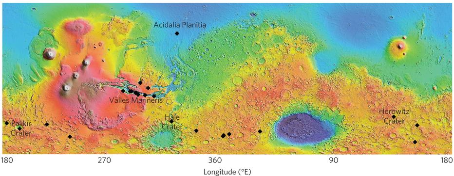 Horowitz y Hale, dos de los cráteres analizados. Créditos: McEwen et al 2013, Nature Geoscience.