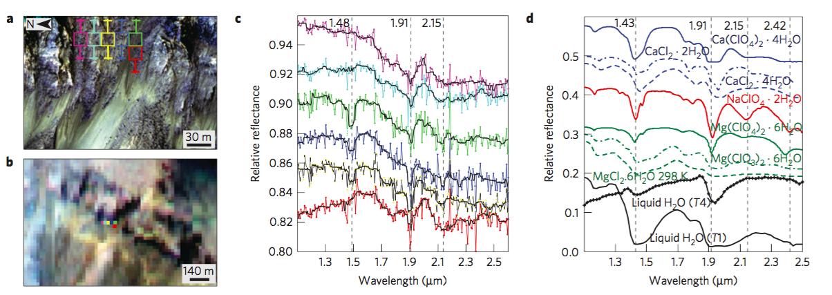 A la izquierda, espectros de distintas zonas del cráter Palikir. Los datos corresponden a las líneas de colores. A la derecha, espectros de laboratorio de diversas sales y agua líquida. Créditos: Ojha et al. 2015, Nature Geoscience.