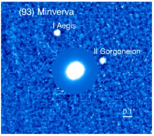 Imagen procesada de IFS del sistema de asteroides Minerva. La intensidad de los pixeles en la parte del asteroide principal fue disminuida para que los satélites se puedan distinguir claramente. Créditos: Yang et al. 2016.